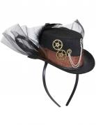 Steampunk-Hut mit Schleier Accessoire schwarz-braun