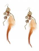 Steampunk-Ohrringe für Damen mit Federn braun