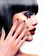 Blutige Fingernägel Horror-Fingernägel 12 Stück silber-rot
