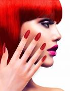 Künstliche Glitzer-Fingernägel 12 Stück rot