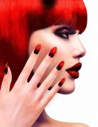 Teufels-Fingernägel Künstliche Nägel 12 Stück schwarz-rot