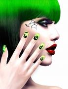 Künstliche Fingernägel mit Firedhofmotiv Halloween 12 Stück grün-gelb-schwarz