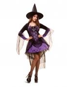 Zauberhaftes Hexenkostüm mit Tüll und Spitze lila-schwarz