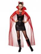 Teufelin-Cape Halloween-Umhang Kostüm-Accessoire rot