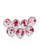 Blutige Halloween-Luftballons Halloween-Partydeko 8 Stück weiss-rot