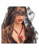 Dia de los Muertos Halloween-Halskette mit Skeletthand Kostüm-Accessoire schwarz-rot