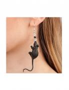 Halloween-Ohrringe mit Ratte schwarz-silber