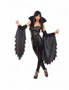 Düstere Vampirin Halloween Accessoire-Set mit Stehkragen und Fledermausärmeln 3-teilig schwarz