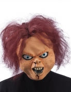 Schaurige Horrorpuppe Halloween-Maske mit Haaren beige-rot