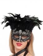 Totenschädel Augenmaske mit Federn Herrscherin der Unterwelt schwarz-silber