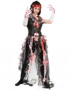 Voodoo Zombie-Braut Halloween Kostüm für Damen schwarz-weiss-grau
