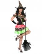 Kunterbunte Hexe mit Punkten Halloween Kostüm für Damen schwarz-bunt