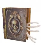 Halloween-Buch mit Knochenhänden und Soundeffekten braun-gold-weiss 16x20cm