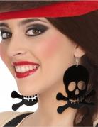 Piraten Totenkopf-Ohrringe schwarz
