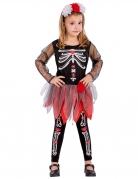 Dia de los Muertos Skelett-Mädchen Halloween Kostüm für Kinder schwarz-weiss-rot