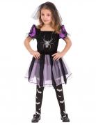 Niedliche Spinnen-Hexe Halloween Kostüm für Kinder schwarz-silber-lila