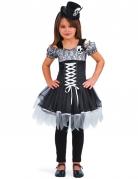 Gothic-Dame Halloween-Kinderkostüm schwarz-weiss