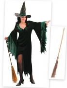 Hexe-Damenkostüm mit Besen Halloween-Set 2-teilig schwarz-grün-braun