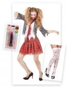 Zombie-Schülerin Kostüm-Set für Halloween 3-teilig bunt