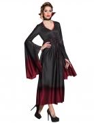 Edle Vampir-Gräfin Halloween-Damenkostüm schwarz-rot