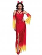 Bezauberndes Teufelskostüm für Damen rot-gelb