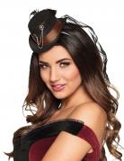 Steampunk Mini-Damenhut schwarz-braun-silber