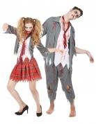 Zombie Highschool Schüler Halloween-Paarkostüm grau-weiss-rot