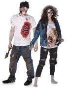Gruselige Zombies Halloween-Paarkostüm weiss-blau-rot
