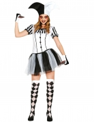 Harlekin-Horrorkostüm für Damen weiß-schwarz