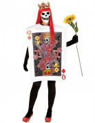 Kostüm Skelettkarte Königin schwarz-weiß-rot