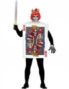 Herzkönig Skelett Halloween-Kostüm weiss-bunt
