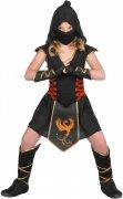 Ninja-Kostüm für Mädchen Halloween-Kostüm schwarz-rot-gold