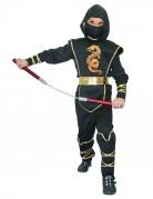 Ninja-Kämpfer-Kostüm für Kinder mit Drachen-Motiv schwarz-gold-orange