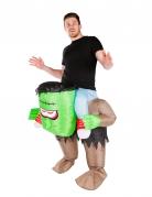 Aufblasbares Carry-Me-Monsterkostüm für Erwachsene grün-braun