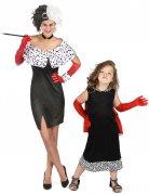 Böse Dalmatiner-Lady-Paarkostüm Cruella Mutter und Tochter schwarz-weiss-rot