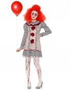 Vintage Clownskostüm für Damen grau-weiss-rot