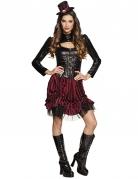 Sexy Steampunk-Damenkostüm schwarz-rot