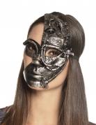 Steampunk-Maske Roboter Halloween-Accessoire grau
