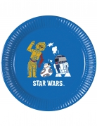 Star Wars™-Pappteller Droiden Tisch-Deko 8 Stück blau-weiss-gelb 20cm