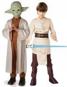 Star Wars™-Kinderpaarkostüm Lizenzartikel Yoda und Jedi beige-braun
