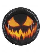Kürbis Pappteller für Halloween 6 Stück schwarz orange 23 cm