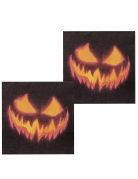 Horror-Kürbis-Servietten für Halloween 12 Stück schwarz-orange 33x33 cm