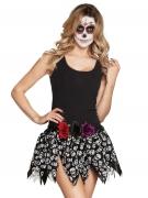 Minirock Totenschädel Damen Halloween-Accessoire schwarz-weiss