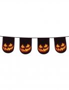Schaurige Kürbis-Girlande für Halloween schwarz-orangefarben 6m