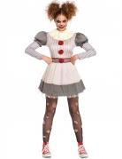 Gruseliges Clownskostüm für Damen an Halloween weiss-grau-rot