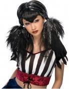 Gothic-Damenperücke mit Zöpfen schwarz-silber