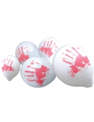 Halloween-Ballons mit blutigen Handabdrücken 10 Stück weiss-rot