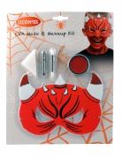 Make-up-Set mit Teufelsmaske für Kinder 5-teilig rot-schwarz-weiss