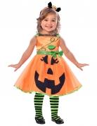 Kürbis-Kinderkostüm für Mädchen Happy-Halloween orange-schwarz-grün