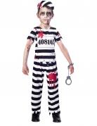 Gefangenen-Zombie-Kostüm für Kinder schwarz-weiss-rot